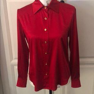 ST. JOHN Silk Button Up Red Blouse